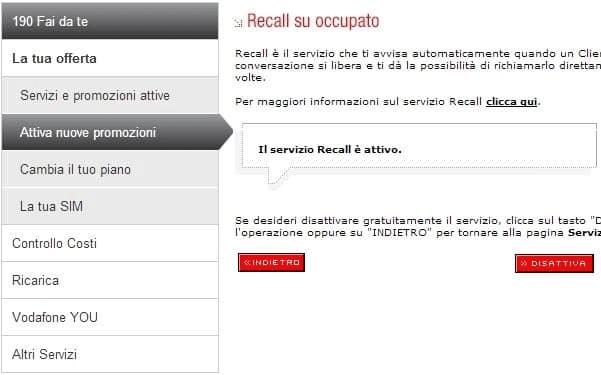 Come Disattivare Recall di Vodafone