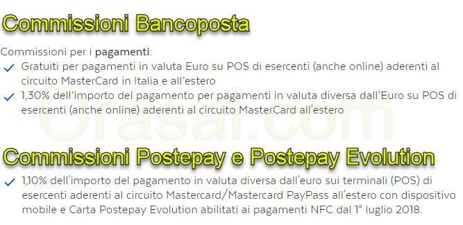 commissioni bancoposta postepay evolution