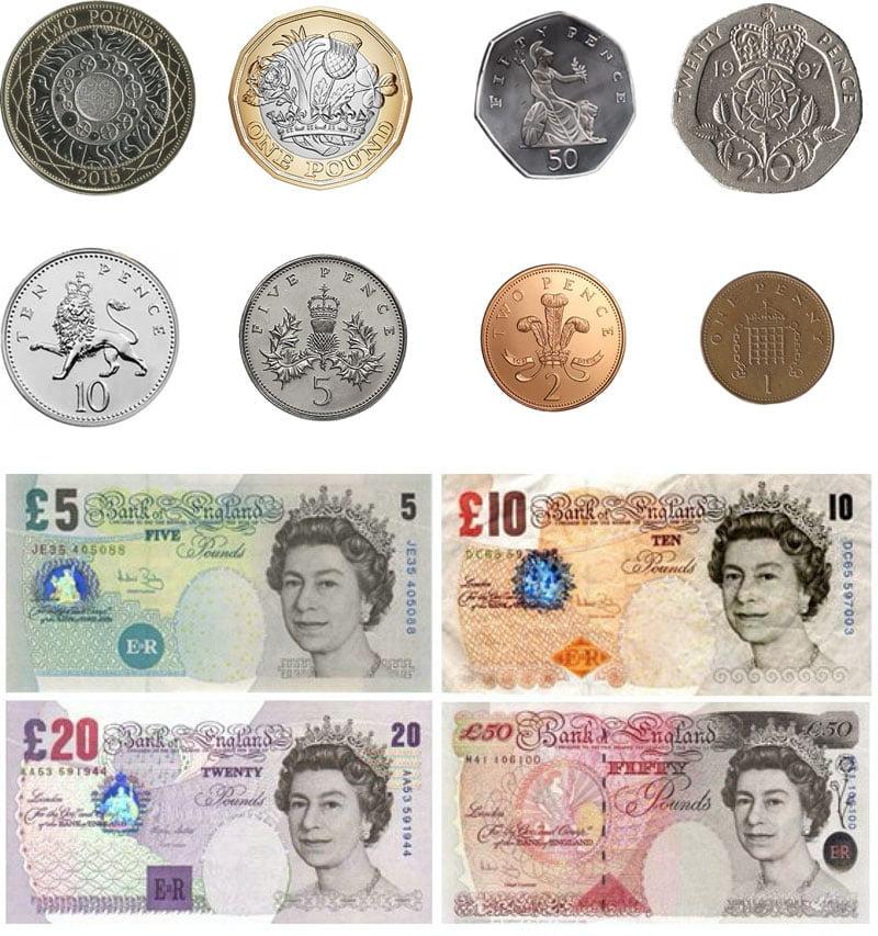 monete banconote inglesi sterline