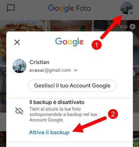 attivare backup google foto