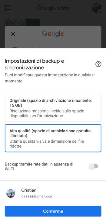 impostazioni backup sincronizzazione google foto