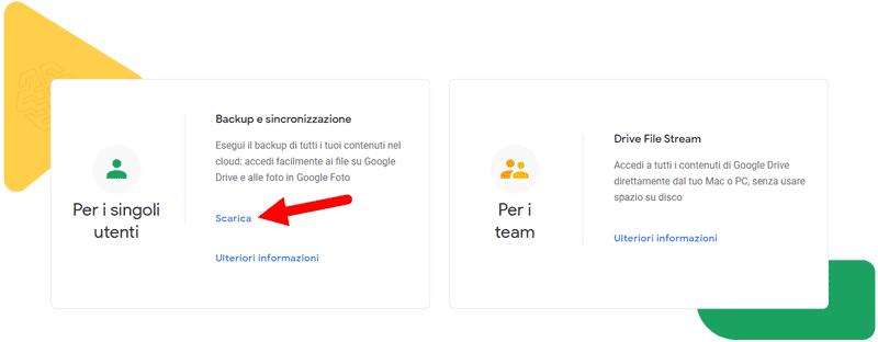 scarica backup e sincronizzazione google