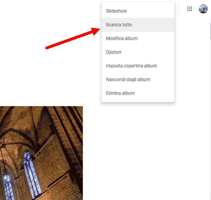 scaricare intero album da google foto