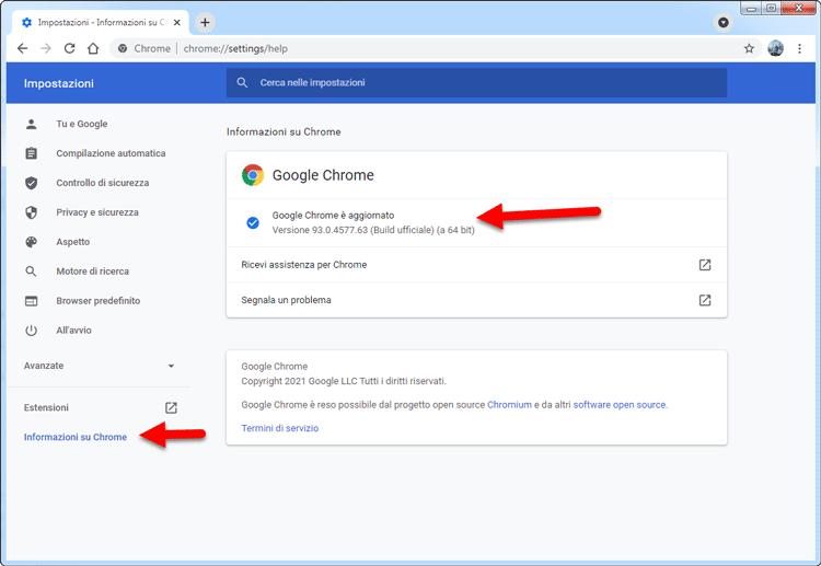 come aggiornare il browser