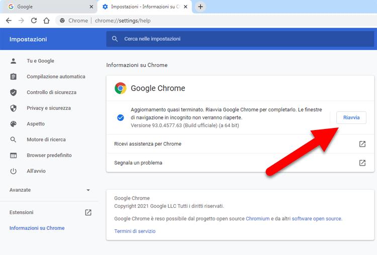 aggiornare browser google chrome riavvia