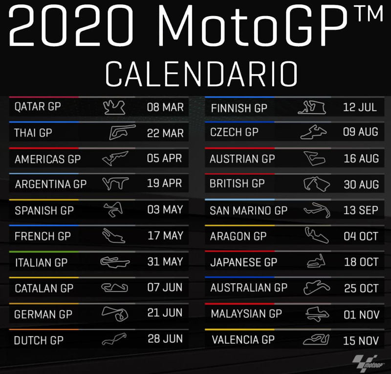 calendario motogp 2020 finale definitivo ufficiale