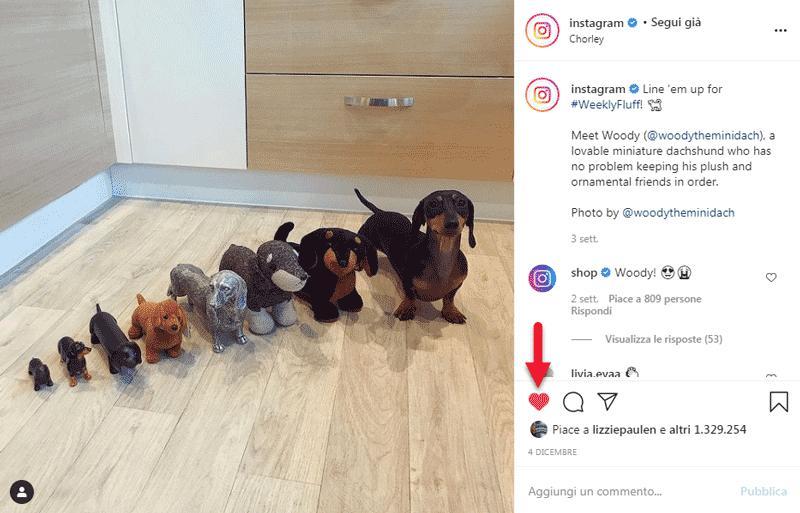 come mettere like su instagram
