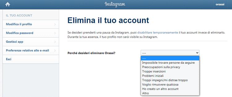 eliminare account instagram motivazione