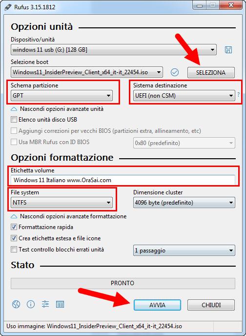 Windows 11 installazione da usb rufus