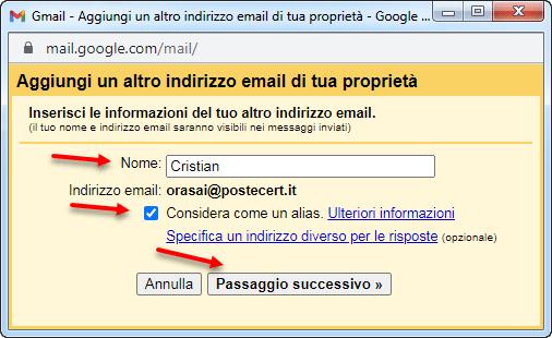 aggiungi un altro indirizzo mail di tua proprietà