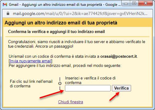 conferma verifica aggiungi indirizzo email gmail