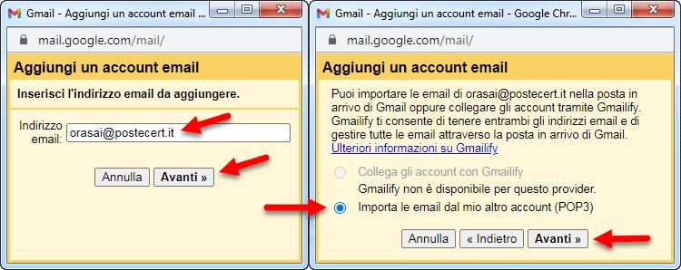 inserire indirizzo pec su gmail