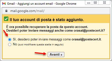 inviare messaggi da pec con gmail