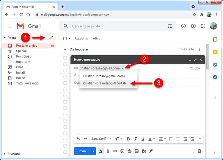 inviare pec con gmail cambio mittente